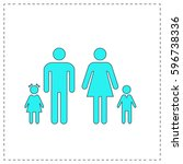 family outline vector icon with ...