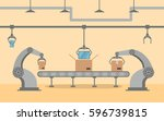 the factory conveyor on packing ... | Shutterstock .eps vector #596739815