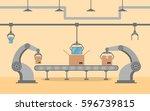 factory conveyor packing... | Shutterstock .eps vector #596739815