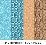 seamless patterns set. vintage... | Shutterstock .eps vector #596744816