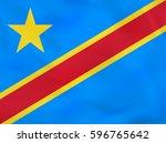 dr congo waving flag. drc... | Shutterstock .eps vector #596765642