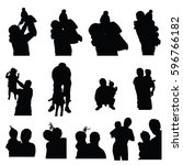 child silhouette with mom and... | Shutterstock .eps vector #596766182