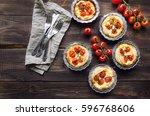 fresh homemade tarts with...   Shutterstock . vector #596768606