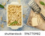 macaroni with grated cheese in...   Shutterstock . vector #596770982