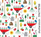 gardening pattern   Shutterstock .eps vector #596778788