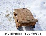 wooden sledge  wooden sled | Shutterstock . vector #596789675