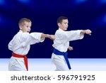 boys in karategi are training... | Shutterstock . vector #596791925