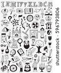 history doodles  | Shutterstock .eps vector #596793806