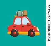 vacation car with luggage... | Shutterstock .eps vector #596796692