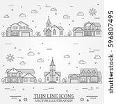 neighborhood with homes... | Shutterstock .eps vector #596807495