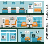 empty bank office interior....   Shutterstock .eps vector #596808116