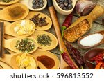 spices on wooden spoons. sales... | Shutterstock . vector #596813552