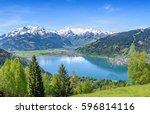 zell am see  snowy mountain... | Shutterstock . vector #596814116