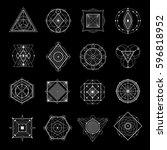 sacred geometry white elements... | Shutterstock .eps vector #596818952