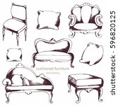 cushioned furniture. vector set....   Shutterstock .eps vector #596820125