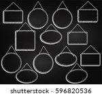 chalkboard style hanging frames ... | Shutterstock .eps vector #596820536