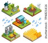farm rural buildings isometric... | Shutterstock .eps vector #596821616