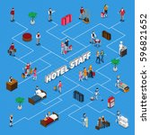 isometric flowchart with hotel... | Shutterstock .eps vector #596821652