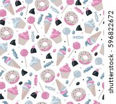 seamless food pattern with...   Shutterstock .eps vector #596822672