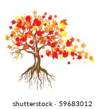 Autumn Maple Tree With Falling...