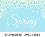 card with spring flowers on... | Shutterstock . vector #596835566
