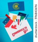 Small photo of Flag of the Commonwealth of Nations (CIS), envelope with countries flags. Commonwealth Day card
