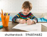 pencils in colorful jar with... | Shutterstock . vector #596854682