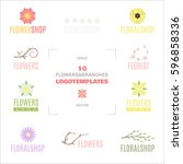 colorful floral logo templates... | Shutterstock .eps vector #596858336