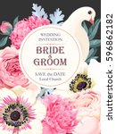 wedding invitation with flowers | Shutterstock .eps vector #596862182
