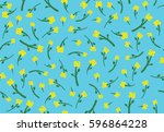 flowers vector pattern with... | Shutterstock .eps vector #596864228