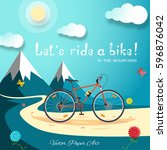 vector poster of let's ride a... | Shutterstock .eps vector #596876042