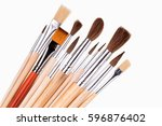 artistic brushes isolated on ... | Shutterstock . vector #596876402
