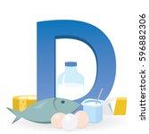 foods rich in vitamin d | Shutterstock .eps vector #596882306