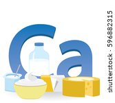 calcium and dairy products | Shutterstock .eps vector #596882315