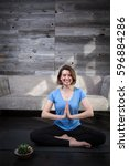 yoga at home | Shutterstock . vector #596884286