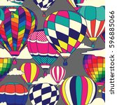 colorful retro pop hot air... | Shutterstock .eps vector #596885066