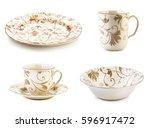 porcelain mugs  tea mugs  on... | Shutterstock . vector #596917472