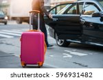 people taking taxi from an... | Shutterstock . vector #596931482