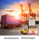 logistics and transportation of ... | Shutterstock . vector #596934662