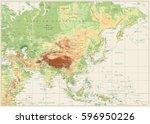 asia physical map retro white... | Shutterstock .eps vector #596950226
