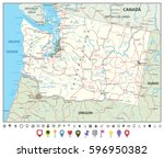 washington state map with roads ... | Shutterstock .eps vector #596950382