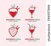 strawberry juice logo vector... | Shutterstock .eps vector #596957846