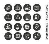 business icon set in circle... | Shutterstock .eps vector #596958842