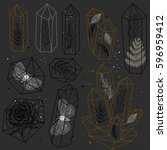 set of hand drawn crystals and... | Shutterstock .eps vector #596959412
