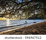 beautiful beach with cradle   Shutterstock . vector #596967512