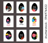 happy easter greeting cards... | Shutterstock .eps vector #596976422