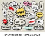 a set of comic speech bubbles... | Shutterstock .eps vector #596982425