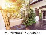 bath outdoor on luxury villa... | Shutterstock . vector #596985002