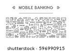 line web banner for mobile... | Shutterstock . vector #596990915