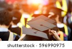 back of graduates during... | Shutterstock . vector #596990975
